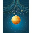 blue christmas card with golden ball vector image vector image