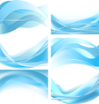 Blue easy waves isolated set on white background vector image vector image