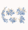 blue vintage winter bouquets vector image vector image