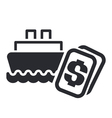 boat cost icon vector image vector image