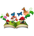 Book of butterflies and mushrooms vector image vector image