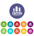 botany cactus icons set color vector image vector image