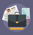 Business suitcase with paperwork portfolio concept vector image