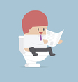 Businessman reading a newspaper in the toilet vector image