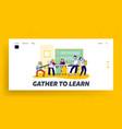 children in music school website landing page vector image