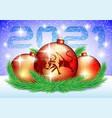 christmas balls with bull symbol 2021 vector image