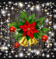 christmas decoration evergreen trees and bells vector image vector image