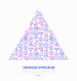 conversion optimization concept in triangle vector image vector image