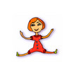 doodle girl toy cartoon doll on white background vector image