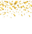 falling shiny golden confetti falling on a white vector image vector image