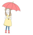 Girl with big red umbrella vector image vector image