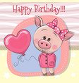 greeting card cute pig girl with balloon vector image vector image