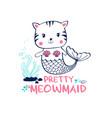 hand drawing mermaid cat vector image vector image