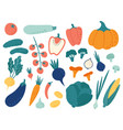 hand drawn vegetables veggies nutrition doodle vector image