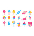ice cream flat icons cartoon frozen yoghurt and vector image