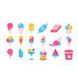 ice cream flat icons cartoon frozen yoghurt vector image