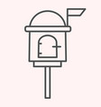 letterbox thin line icon mail box on stand vector image vector image