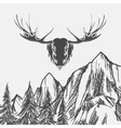 Nature background with forest and elk vector image