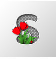 paper cut letter s with poppy flowers vector image vector image