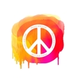 Peace sign on watercolor splatter Hippie vector image vector image