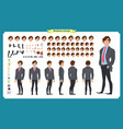 people character business set front side back vector image vector image