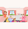 pink bedroom scene with a girl and babies