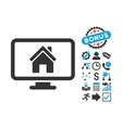 Realty Monitoring Flat Icon with Bonus vector image vector image