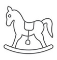 rocking horse thin line icon baby and toy vector image vector image