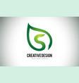 s leaf logo letter design with green leaf outline vector image vector image