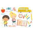 school set funny hand drawn characters and vector image vector image