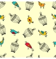 seamless cute birds with cages pattern vector image vector image