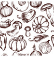 seamless pattern of onions mushrooms vector image