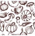 seamless pattern onions mushrooms vector image