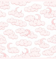 seamless pattern with pink clouds and moons vector image vector image