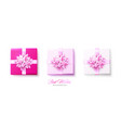 set gifts boxes with pink bows and ribbons vector image