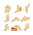 set icons hands with coins gesturing vector image