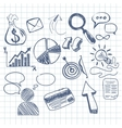 Set of doodle business management vector image