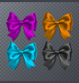 set of realistic bow on transparent background vector image vector image
