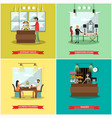 set of shops square posters in flat style vector image vector image
