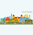 stuttgart germany skyline with color buildings vector image vector image