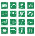 summer rest icons set grunge vector image vector image