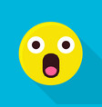 surprised emoticon icon flat style vector image