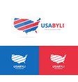 usa logo combination america and vector image
