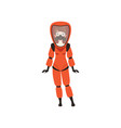woman in red protective costume and gas mask vector image vector image