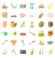 worker craft icons set cartoon style vector image vector image