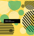 yellow abstract circles with stripes background vector image vector image