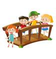 four kids crossing wooden bridge vector image