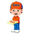pizza delivery man cartoon vector image