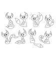 Set of cartoon contour cats vector image