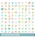 100 navigation icons set cartoon style vector image